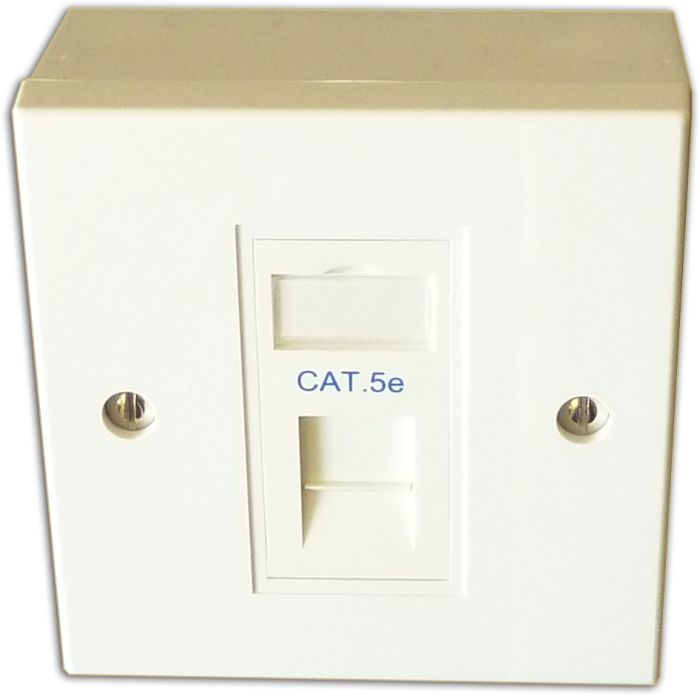 Cat 5e 1 Way Data Network Outlet Kit - Faceplate, Module, Backbox