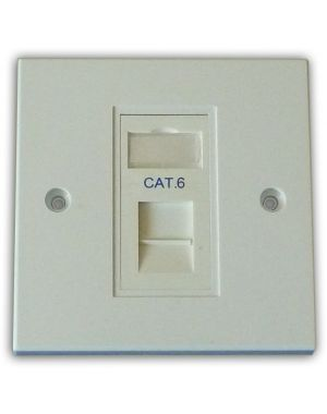 Cat 6 1 Way Data Network Outlet Kit - Faceplate, Module