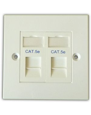 Cat 5e 2 Way Data Network Outlet Kit - Faceplate, Modules