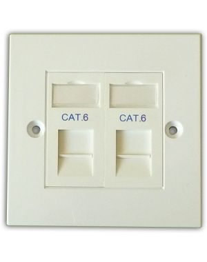 Cat 6 2 Way Data Network Outlet Kit - Faceplate, Modules