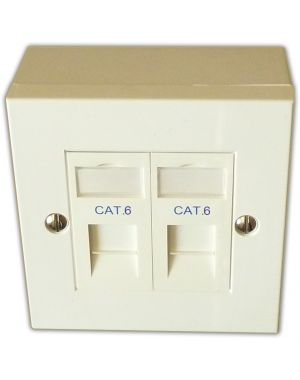 Cat 6 2 Way Data Network Outlet Kit - Faceplate, Modules, Backbox