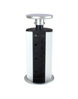 Powerlynx Pop Up Power Pod 3 UK Sockets in Silver