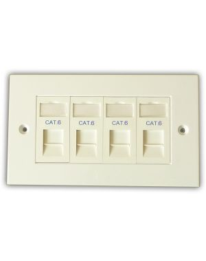 Cat 6 4 Way Data Network Outlet Kit - Faceplate, Modules
