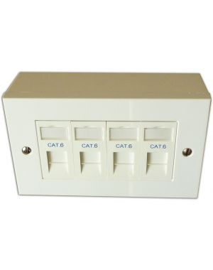 Cat 6 4 Way Data Network Outlet Kit - Faceplate, Modules, Backbox