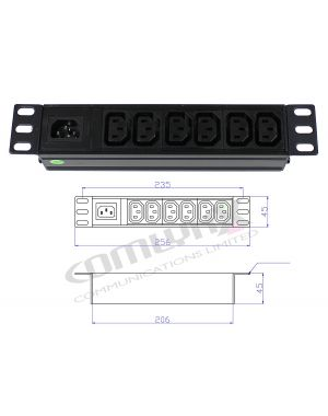 "10"" 6 Way IEC Detachable Power Distribution Box"