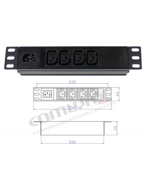 "10"" 4 Way IEC Detachable Power Distribution Box"