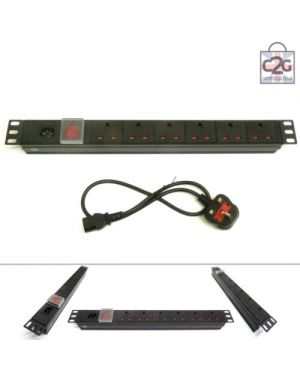 "19"" 6 Way Detachable Switched UK Power Distribution Unit (IEC Inlet)"