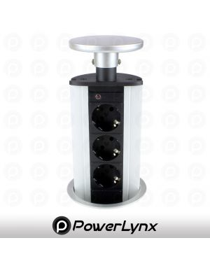 Silver Pop Up Power Pod 3x EURO Sockets