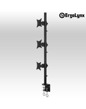 Ergolynx Heavy Duty Clamp Type Monitor Pole - 3 Screens, 1 Knuckle