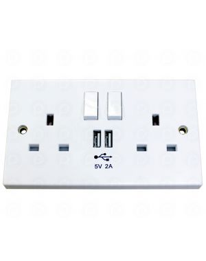 POWERLYNX 2 Way UK Mains Socket With USB Charge Sockets