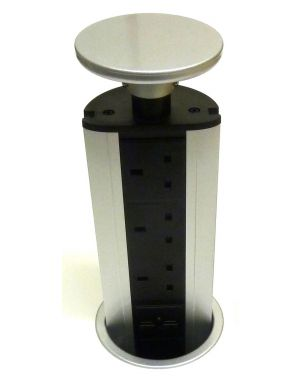 Powerlynx Pop Up Power Pod 3 UK Sockets, 2 USB Charge Sockets in Silver